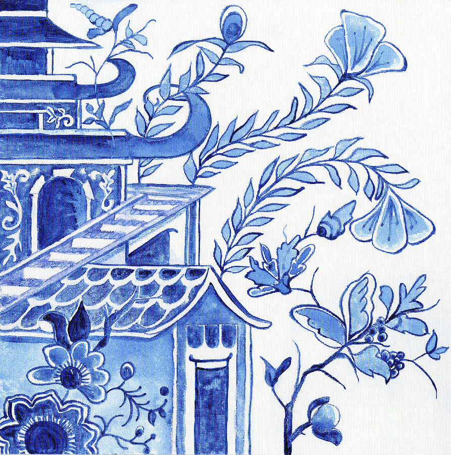 Chinoiserie Blue and White Pagoda Floral 1 by Audrey Jeanne Roberts