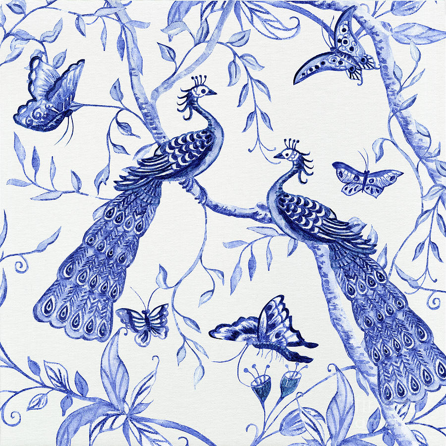 Chinoiserie Blue and White Peacocks and Butterflies by Audrey Jeanne Roberts