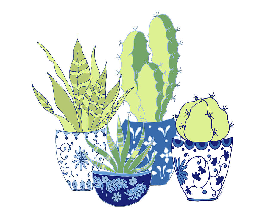 Cactus Digital Art - Chinoiserie Cactus Garden by Roleen Senic