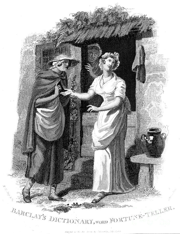 Chiromancy Country Girl Having Her Hand Drawing by Print Collector