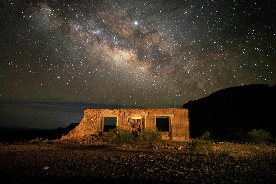 Texas Photograph - Chisos Mountain Homestead Under The Milky Way by Harriet Feagin