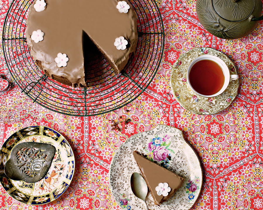 Chocolate Cake And Tea Photograph by Sharon Lapkin