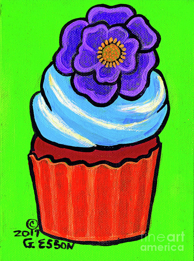 Chocolate Cupcake With Purple Flower Painting