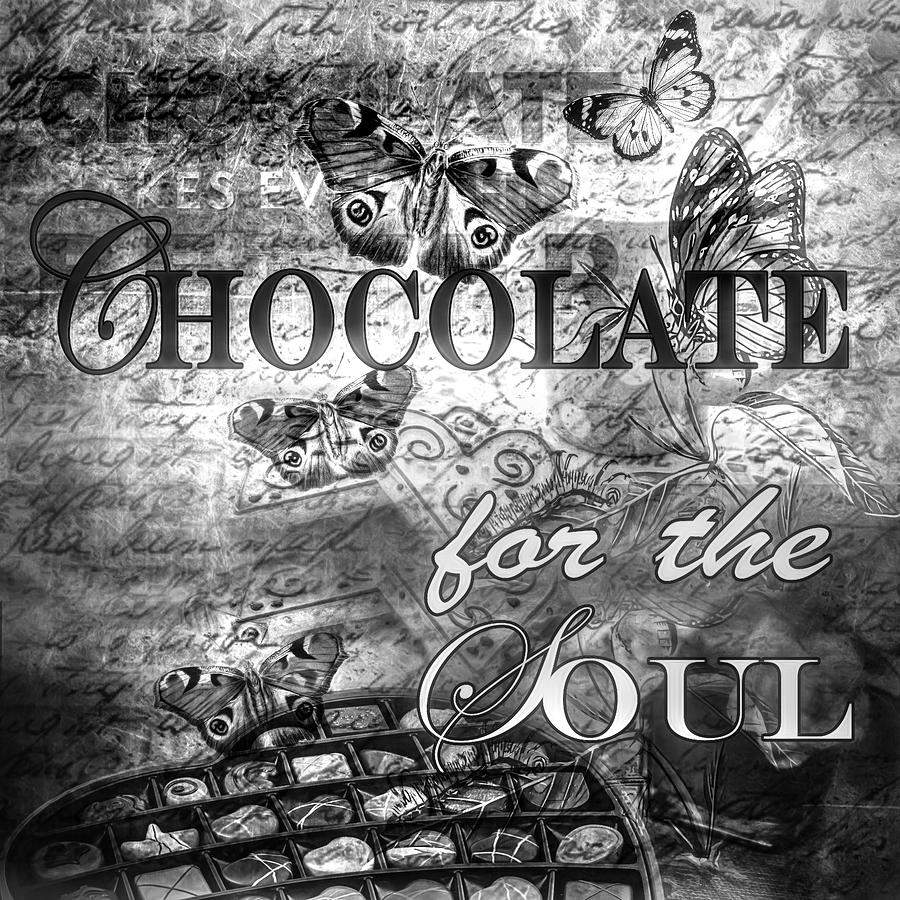 Candy photograph chocolate for the soul in black and white by debra and dave vanderlaan