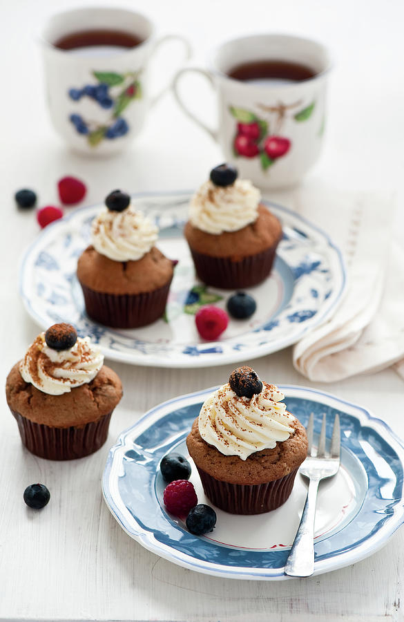 Chocolate Muffins With Berries Photograph by Verdina Anna