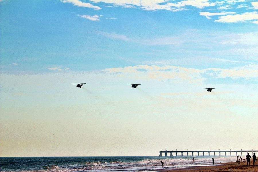 Choppers Over Beach by Cynthia Guinn