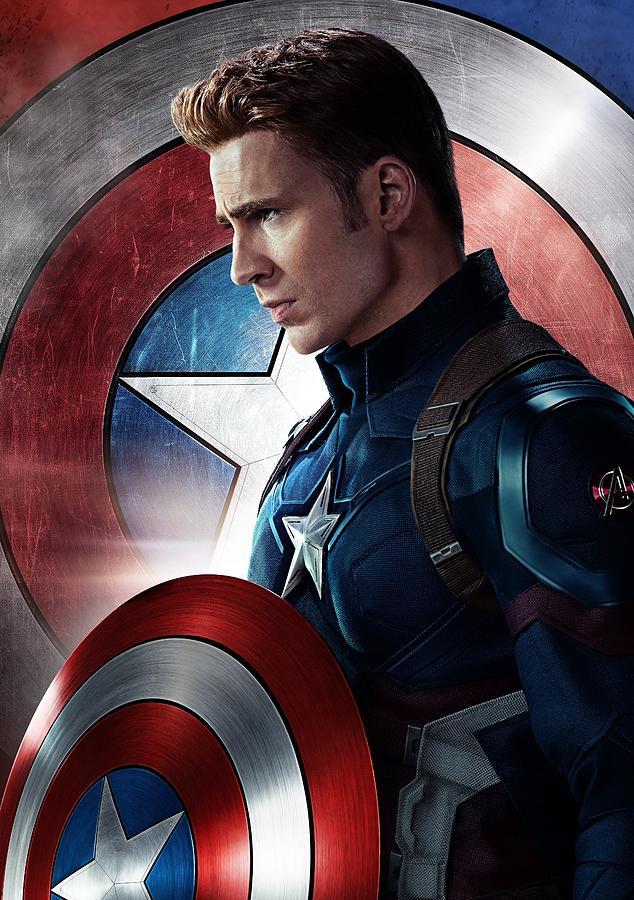 Iron Man Digital Art - Chris Evans Captain America  Avengers by Geek N Rock