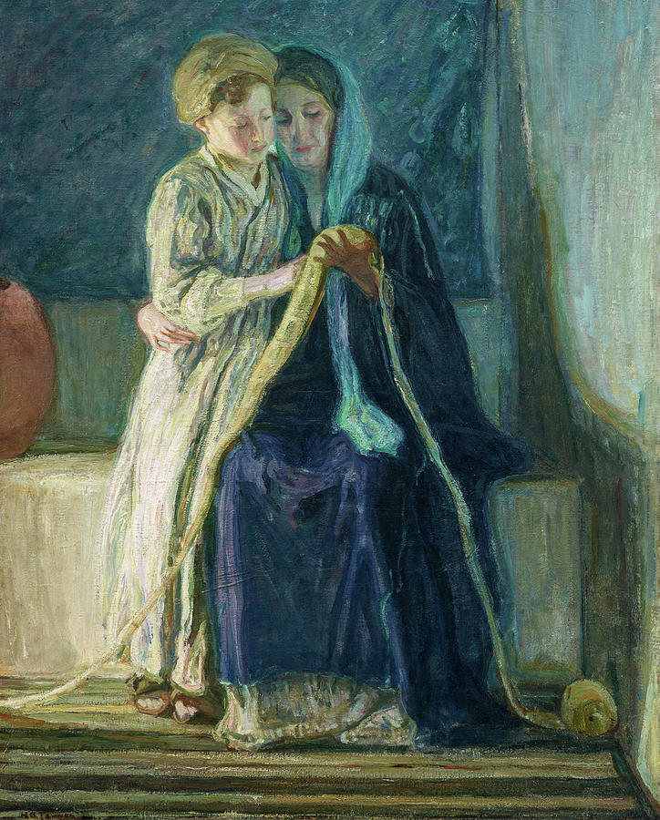 Christ Painting - Christ and His Mother Studying the Scriptures, 1908 by Henry Ossawa Tanner
