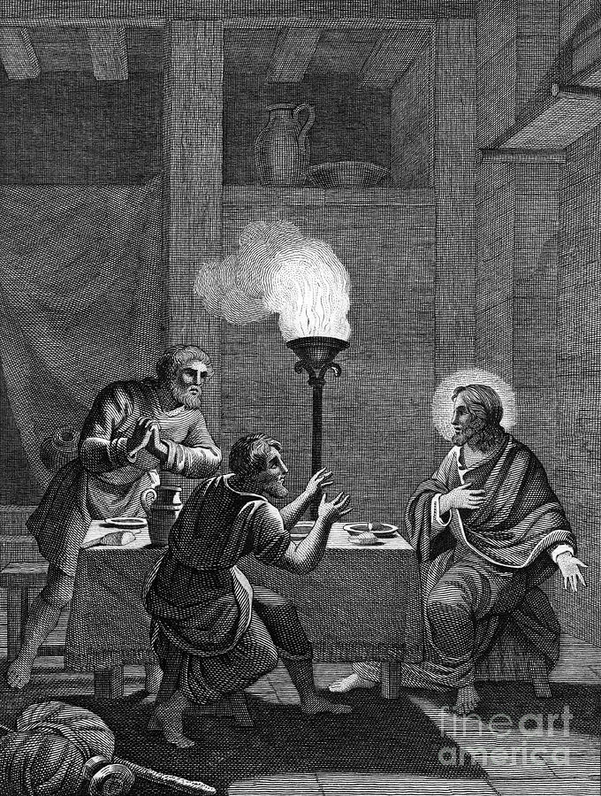 Christ And The Two Disciples At Emmaus Drawing by Print Collector