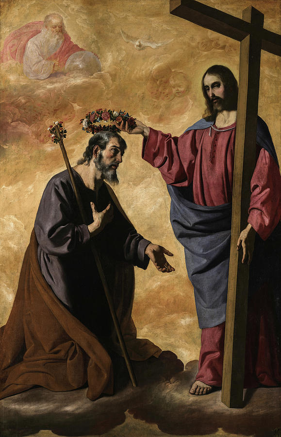 Francisco De Zurbaran Painting - Christ Crowning Saint Joseph by Francisco de Zurbaran