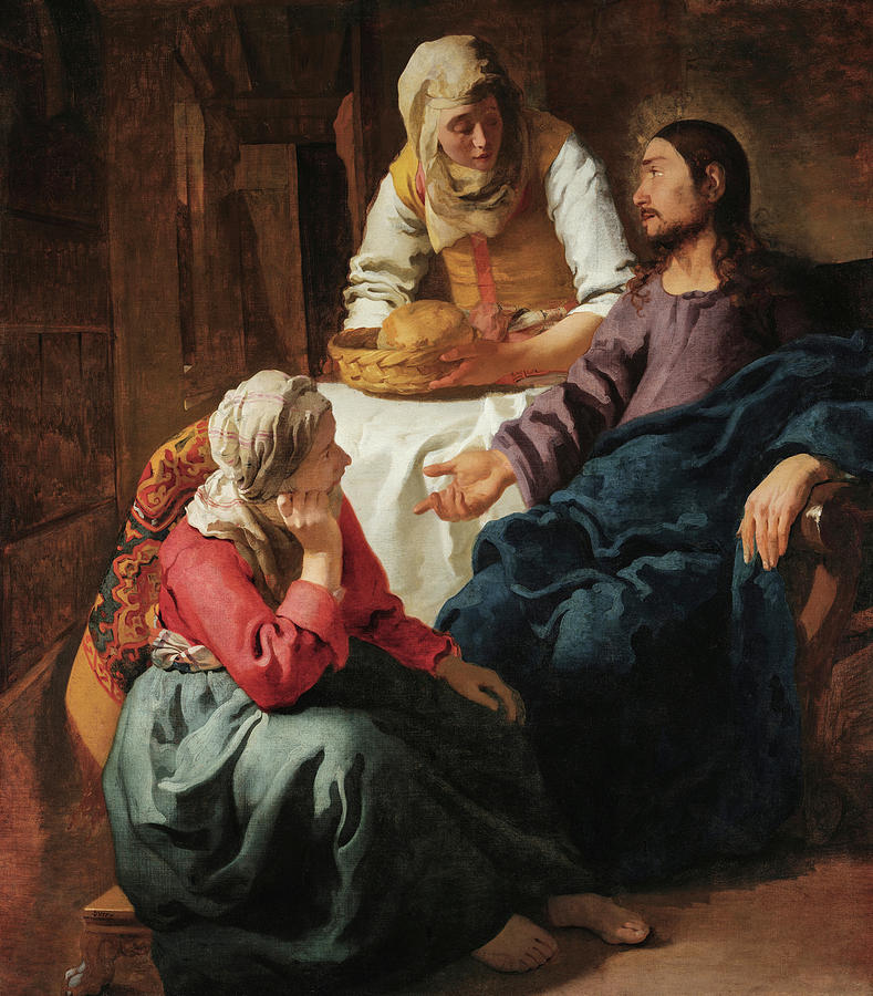 Johannes Vermeer Painting - Christ In The House Of Martha And Mary, 1656 by Johannes Vermeer