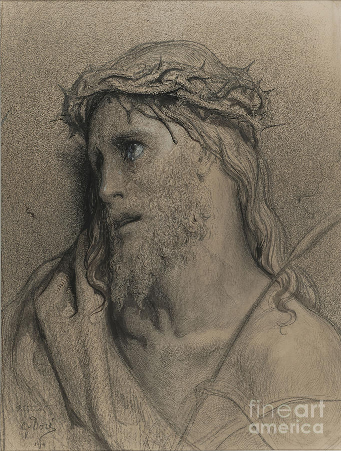 Christ With The Crown Of Thorns Drawing by Heritage Images