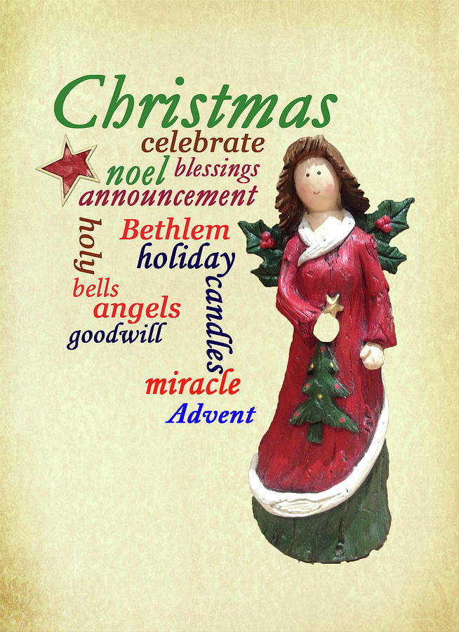 Christmas Angel Word Cloud by Jacqueline Sleter