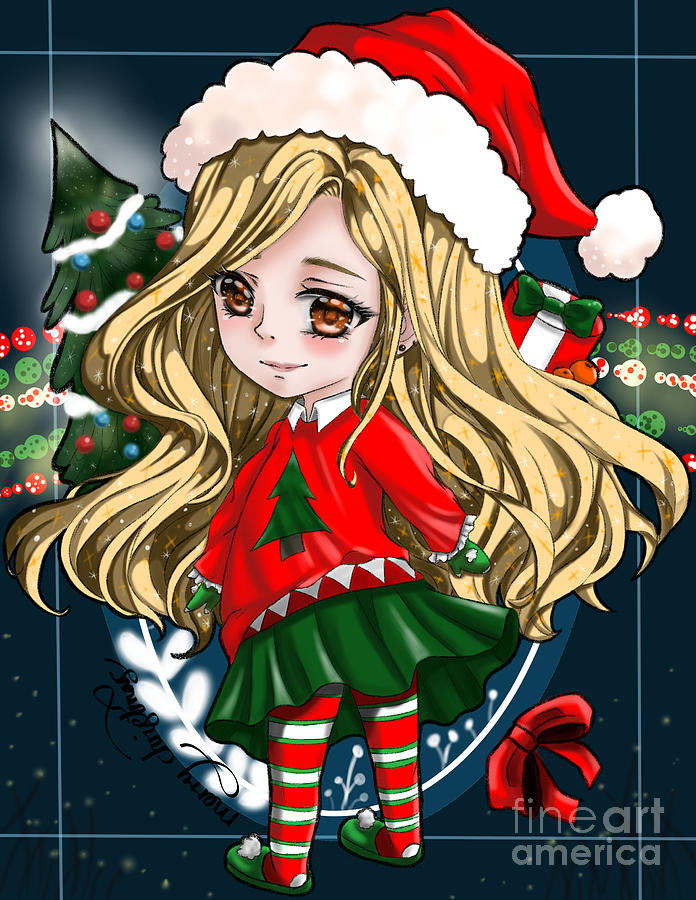 Christmas Anime.Christmas Anime Girl Navy