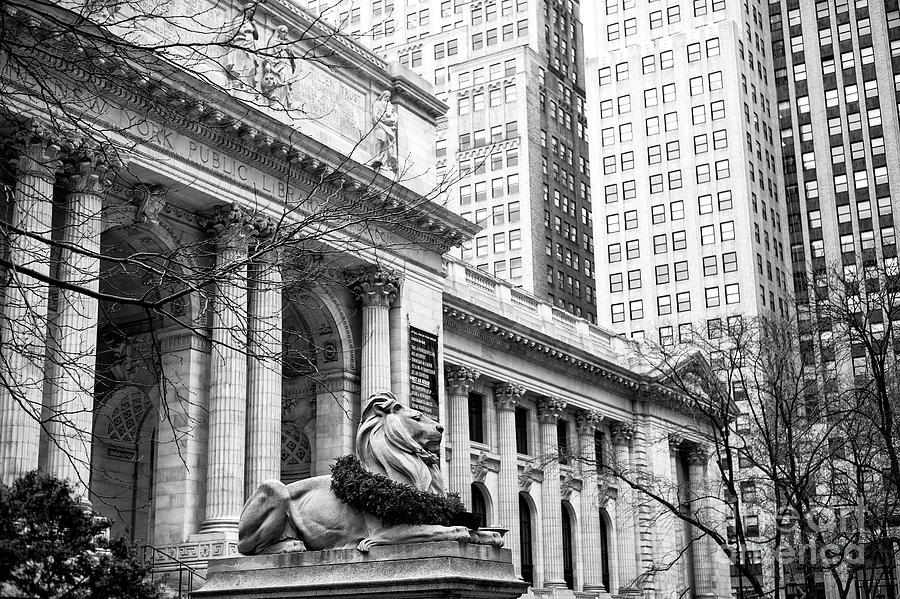 New York Public Library Photograph - Christmas At The New York Public Library At 42nd Street by John Rizzuto