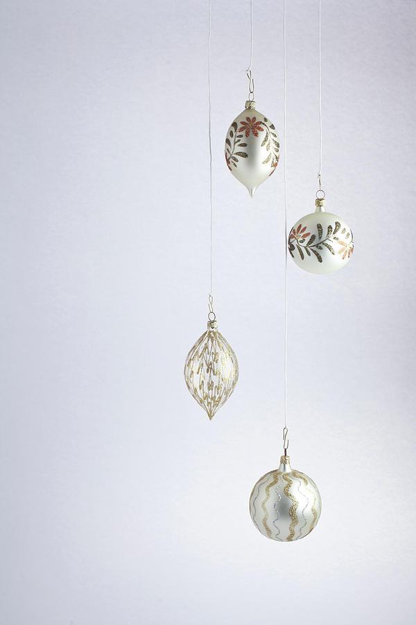 Christmas Ball,white Photograph by Deimagine