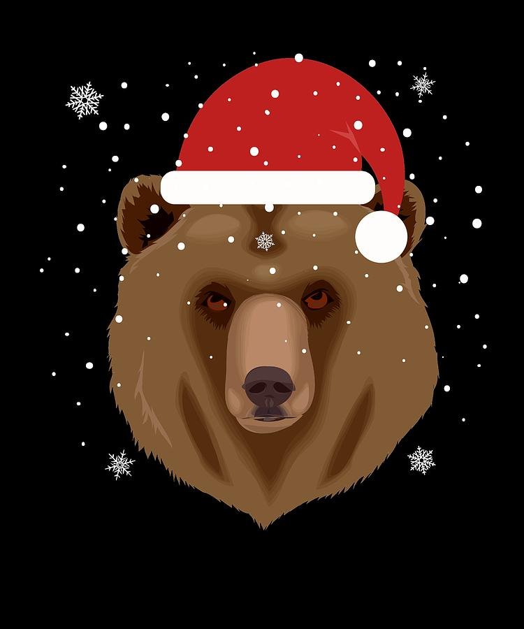 Christmas Bear.Christmas Bear In Santa Hat