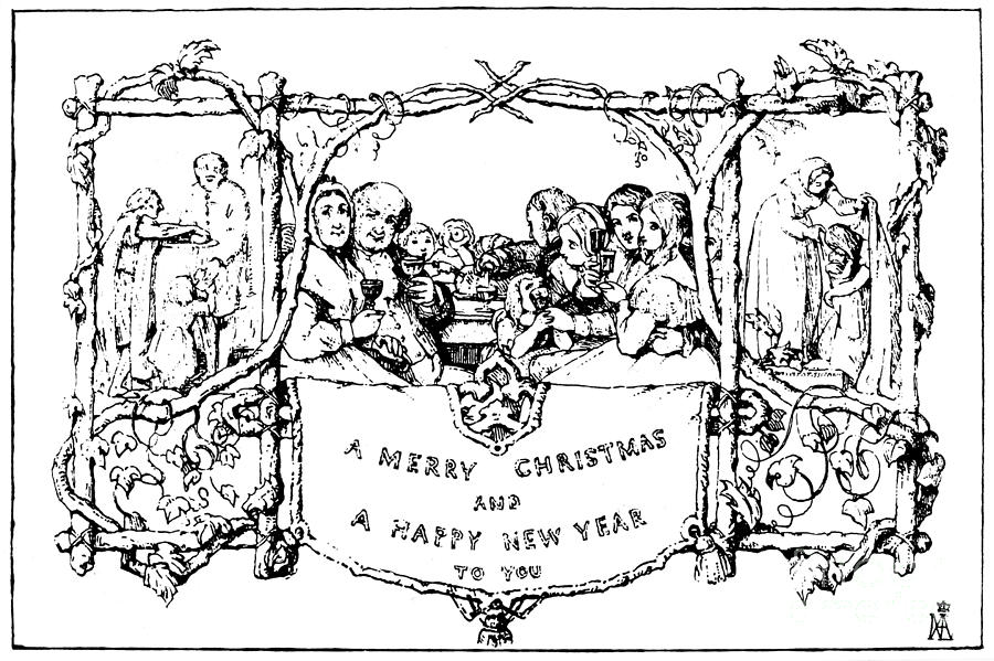 CHRISTMAS CARD, 1843 by John Calcott Horsley