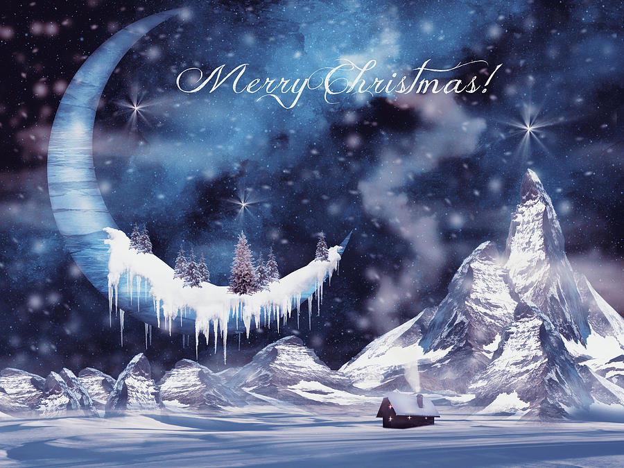 Frozen Christmas.Christmas Card With Frozen Moon