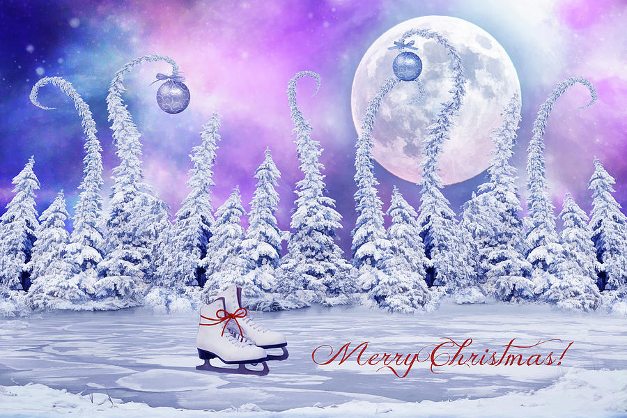 Christmas Digital Art - Christmas Card With Ice Skates by Mihaela Pater