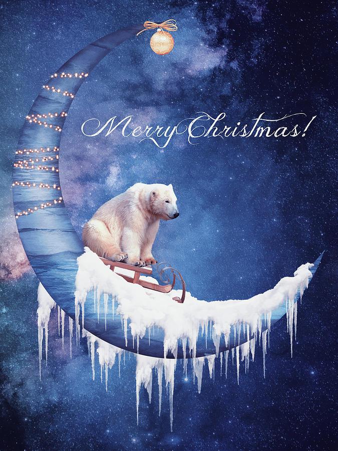 Christmas Card With Moon And Bear Digital Art