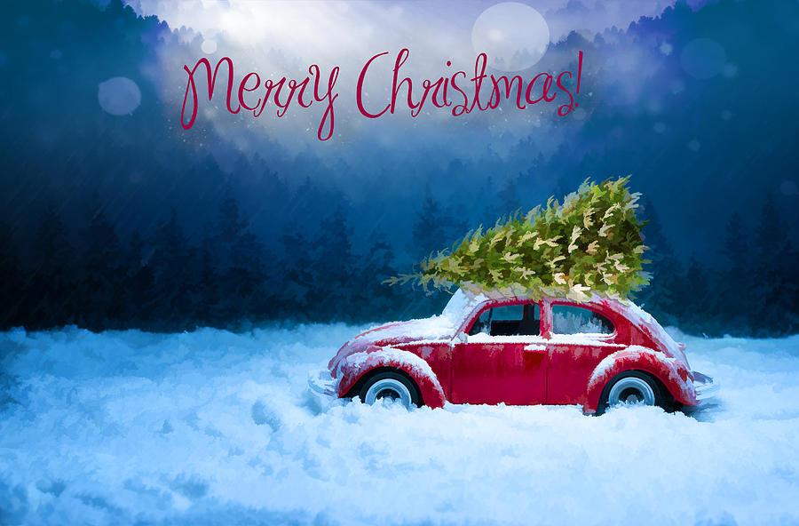 Christmas Card With Red Car Digital Art