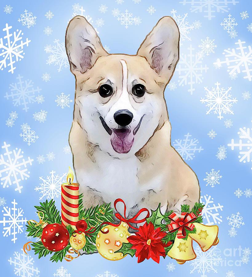 welsh corgi digital art christmas corgi puppy by kathy kelly - Christmas Corgi