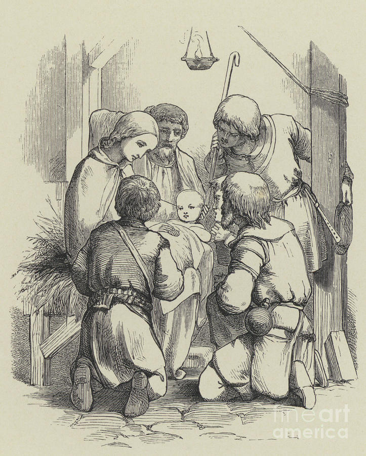 19th Century Drawing - Christmas, Engraving by English School