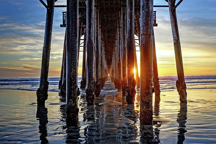 Ocean Photograph - Christmas Eve At The Pier by Ann Patterson