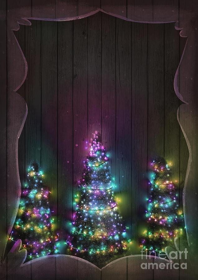 Christmas Fairy Lights On Wood Christmas Tree Illuminated