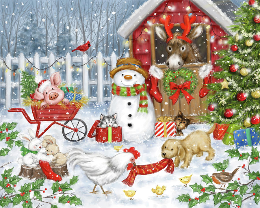 Animal Mixed Media - Christmas Farm Animals by Makiko