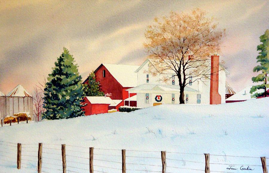 Farm Painting - Christmas Farm II by Jim Gerkin