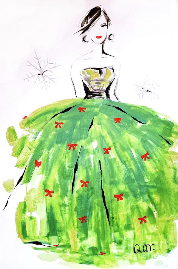Holiday Painting - Christmas Fashion Girl by AQQ Studio