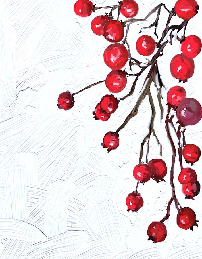 Christmas Holly Berries - Digital Painting by Patricia Awapara