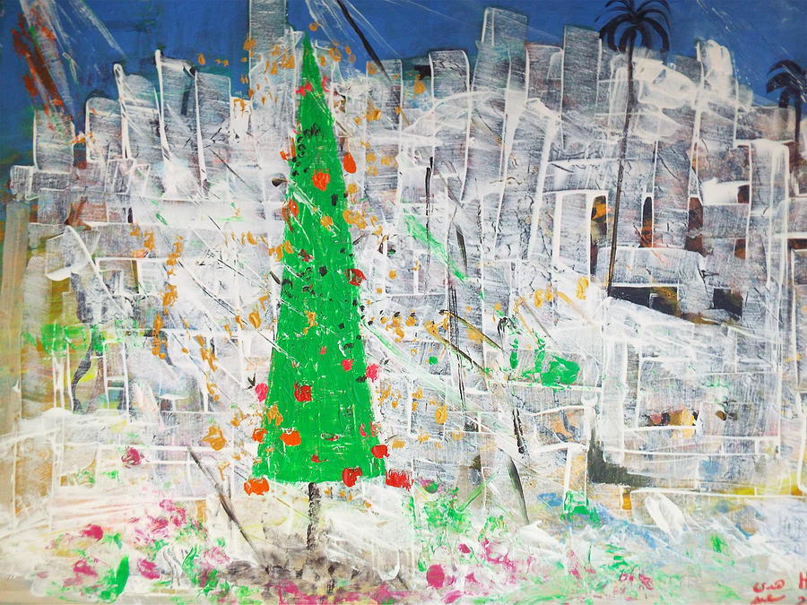 Christmas Tree Painting - Christmas in town by Hoda Said Ibrahim