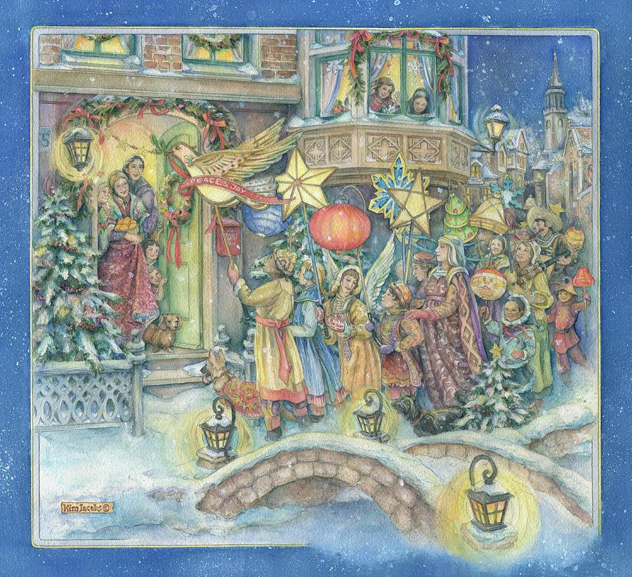 Christmas Lantern Celebration Painting By Kim Jacobs
