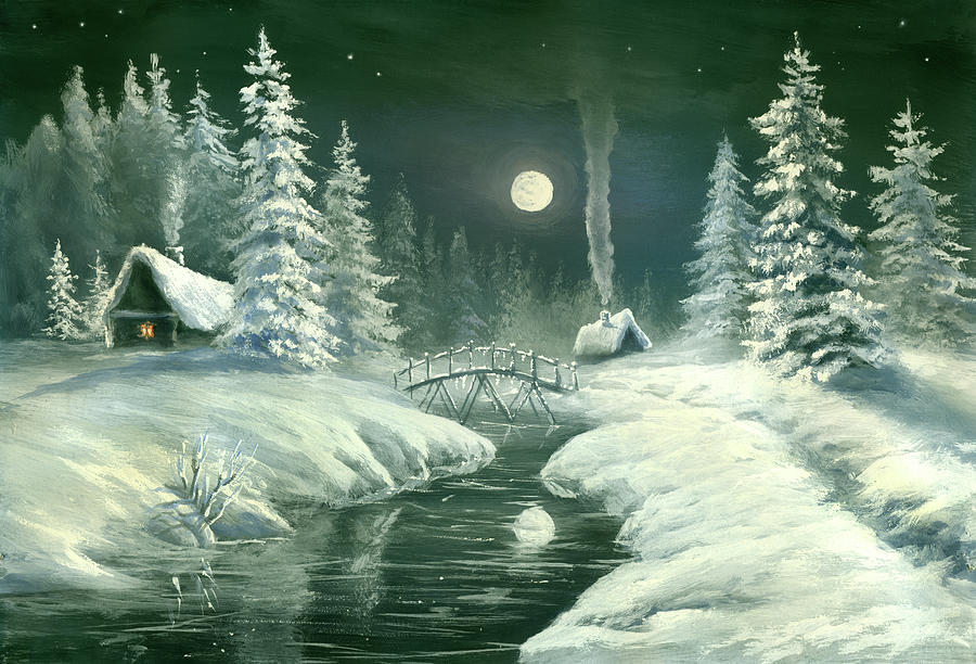 Christmas Night In The Country Digital Art by Pobytov