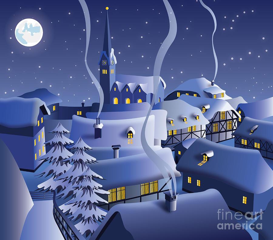 Door Digital Art - Christmas Night by Nikola Knezevic