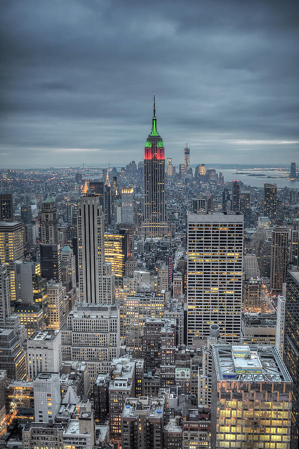 Christmas Over Manhattan, Nyc Photograph by By Gene Krasko