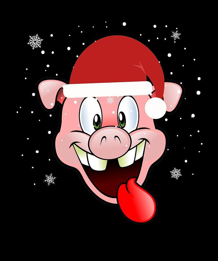 Christmas Pig.Christmas Pig In Santa Hat