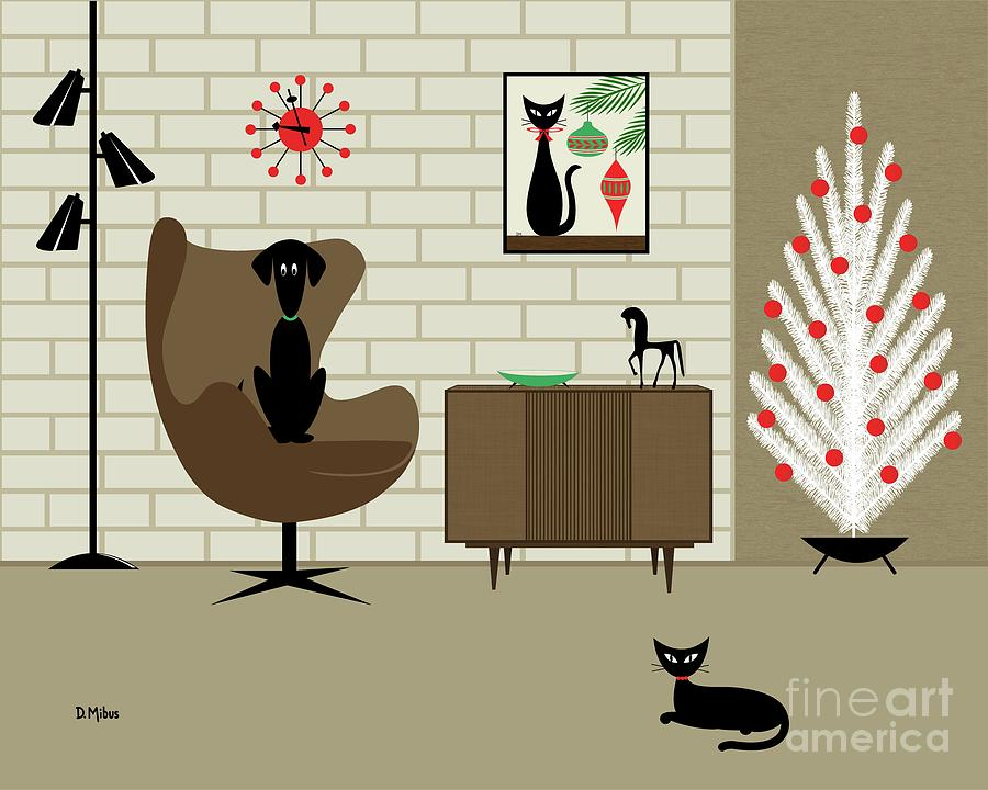 Christmas Room with Black Dog and Cat by Donna Mibus