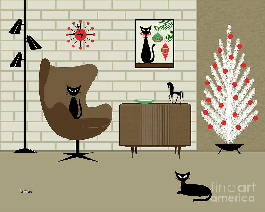 Christmas Room with Two Cats by Donna Mibus