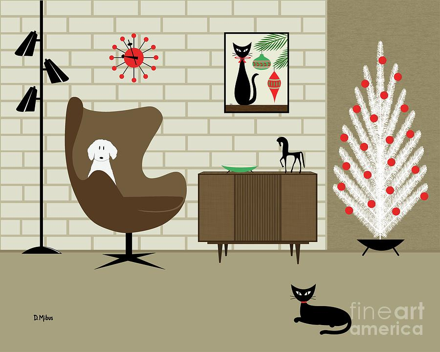Christmas Room with White Dog and Black Cat by Donna Mibus
