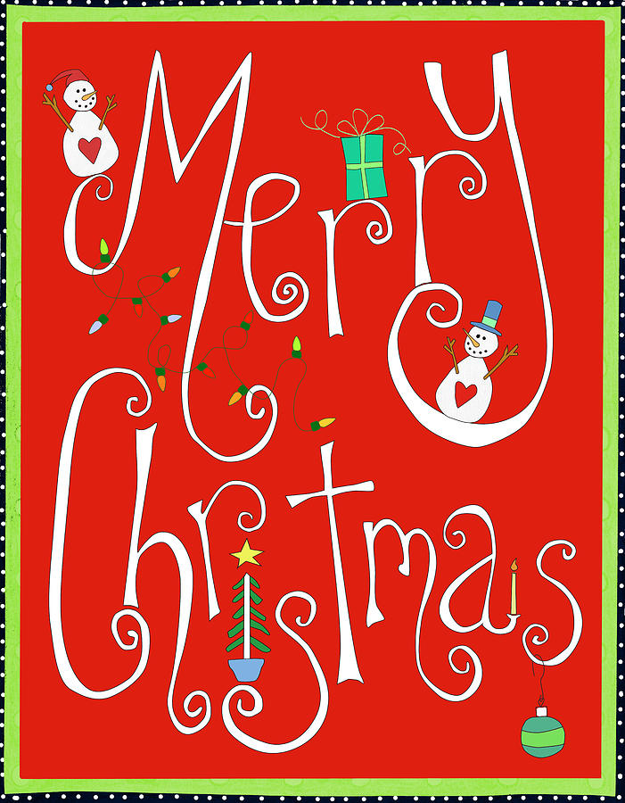 Merry Christmas Digital Art - Christmas Scroll by Ali Lynne