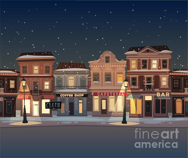 Auto Digital Art - Christmas Town Illustration Seamless by Doremi
