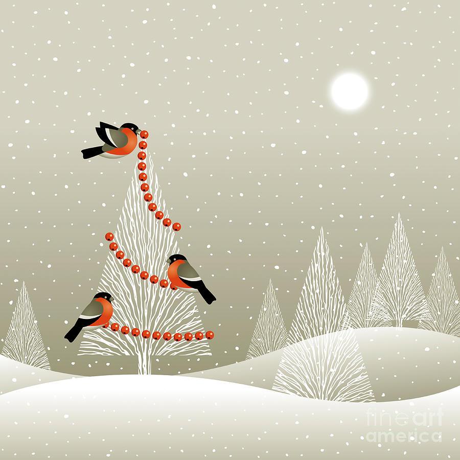 Decorate Digital Art - Christmas Tree In Winter Forest by Oleg Iatsun