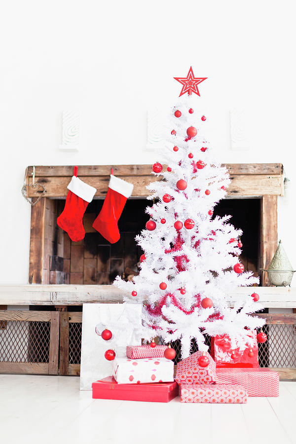 Christmas Tree With Gifts And Stockings Photograph by Hybrid Images