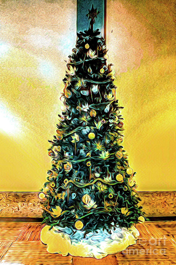 Christmas Tree Yellow Background by Joe Lach