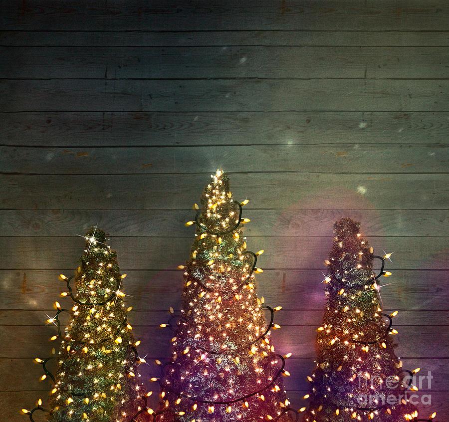 Christmas Trees On Wood Fairy Lights