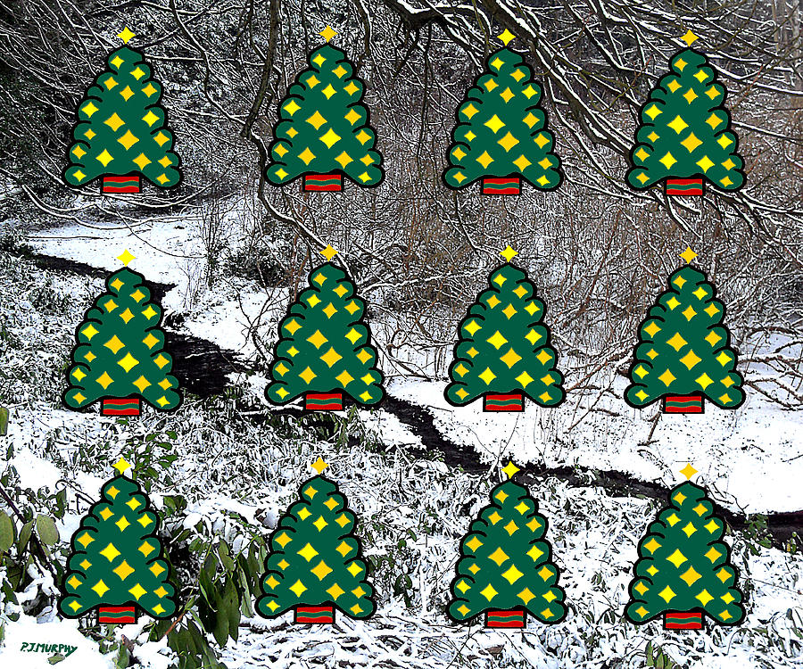 Christmas Mixed Media - Christmas Trees by Patrick J Murphy